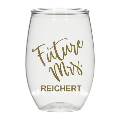 16 oz personalized stemless wine glass, cocktail glass wedding favors Future Mrs - Wine Glass Favors