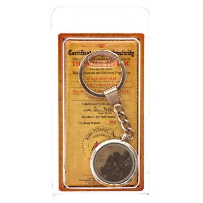 Titanic Coal   Glass Silver Plated Key Chain W   Coa  Authentic Memorabilia