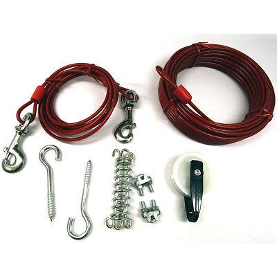 50' DOG RUN STEEL TROLLEY KIT FOR 120 LB DOGS Heavy Duty Lead Leash Tie Cable ()