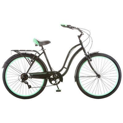 """Womens Beach Cruiser Bike 7 Speed 26"""" Bicycle Rack Ladies City Cruising Black"""