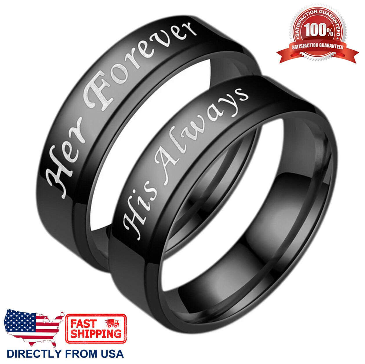 Couple's Matching Promise Ring His Always or Her Forever Men Women Wedding Band Fashion Jewelry
