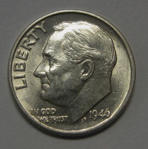 Gorgeous 1946 Silver Roosevelt Dime Grading NICE AU/BU First Year of Issue DUTCH