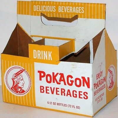 Vintage soda pop bottle carton POKAGON BEVERAGES 12oz size picturing an indian