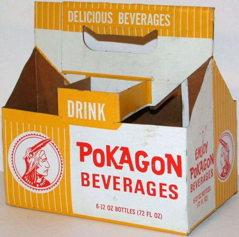 Vintage soda pop bottle carton POKAGON BEVERAGES 12oz size picturing an indian