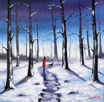 ORIGINAL LANDSCAPE CANVAS PAINTING Sarah Featherstone, Winter Woodland Walk,Snow