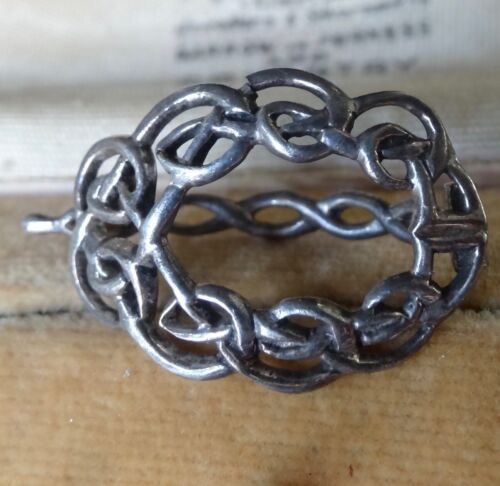 antique Edwardian SILVER hair or scarf clip celtic knot -H32