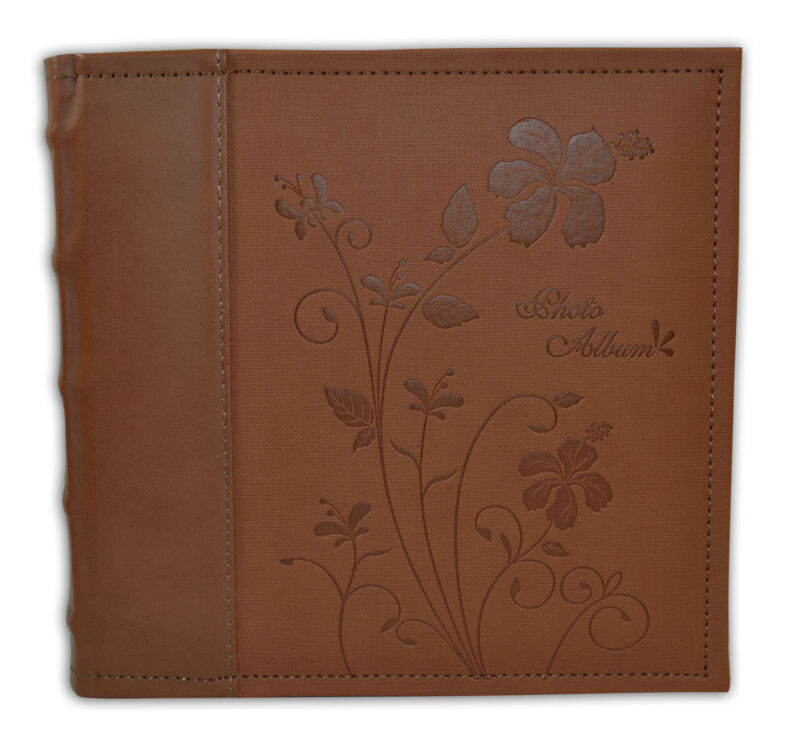 Photo Album, Holds 200 4x6 Photos, 2 Per Pages, Faux Leather, P52028-6 Brown