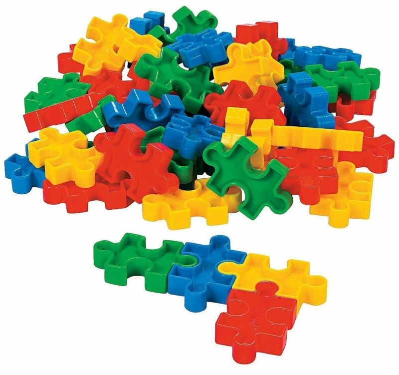 Plastic Puzzle-shaped Block Set - 50 Pieces