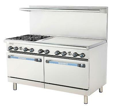 Radiance 60 Restaurant Gas Range 2 Std Ovens 4 Burners 36 Griddle