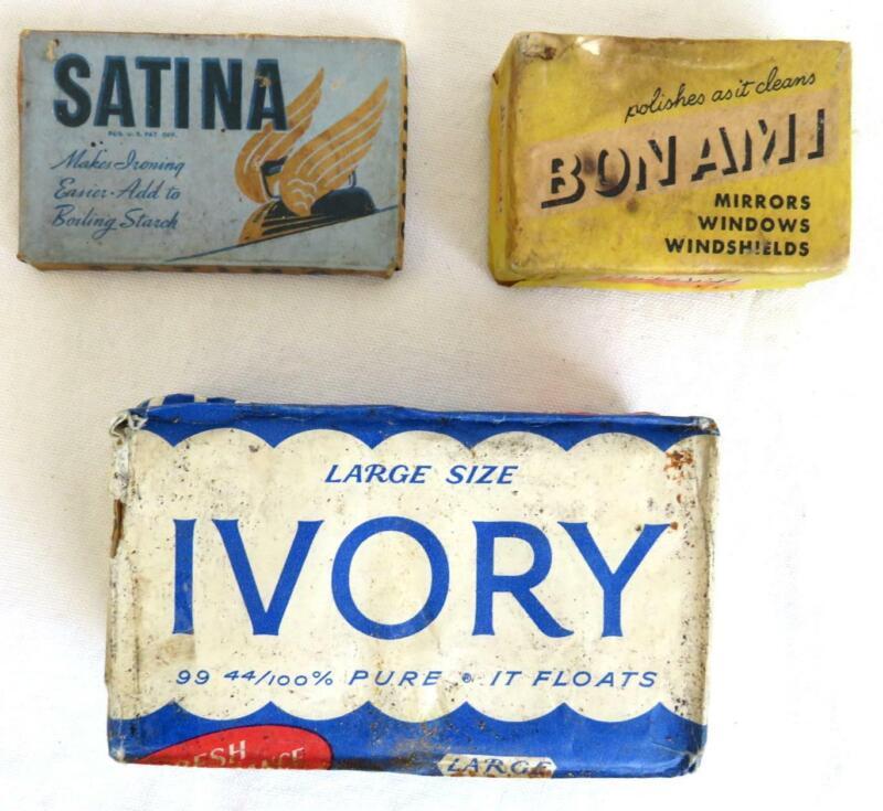 3 Original Vintage Soaps Ivory Large Size, Satina Starch, Bon Ami Cake UNUSED