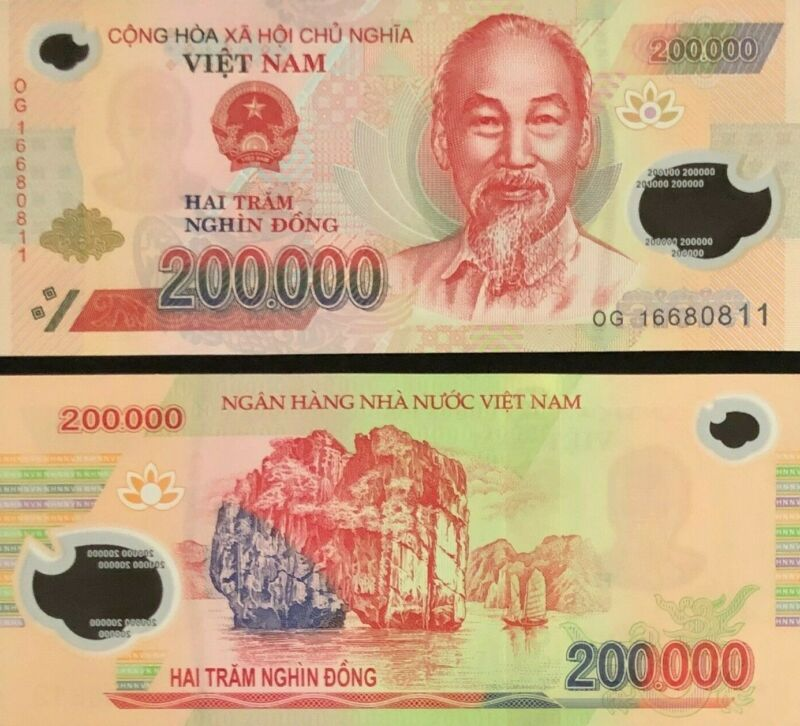 200,000 VIETNAMESE DONG VND Bank Note Uncirculated for Collectors - CRISP Notes