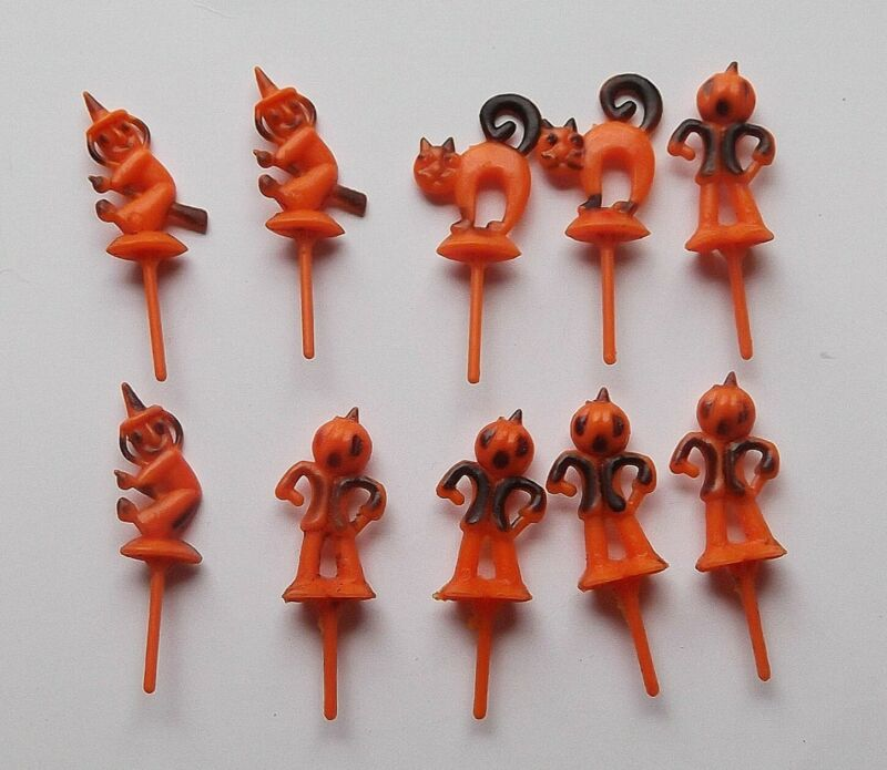 Vintage Halloween Lot Hard Plastic Witch Cat Pumpkin CupCake Toppers Picks