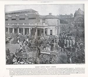 1897-VICTORIAN-PRINT-COVENT-GARDEN-MARKET-LONDON-PLUS-DESCCRIPTIVE-TEXT