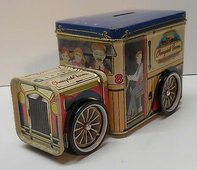 Truck Tin with Wheels and Bank Slot Cherrydale Farms Vintage