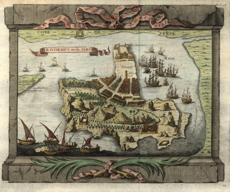 Ormus Persian Gulf Hormuz Island Portuguese Colony 1746 engraved city plan view