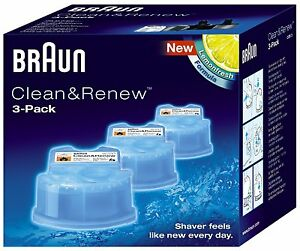 Braun CCR3 3 Pack Clean And Renew Men Shaver Hygienic Cleaning Refill Cartridges