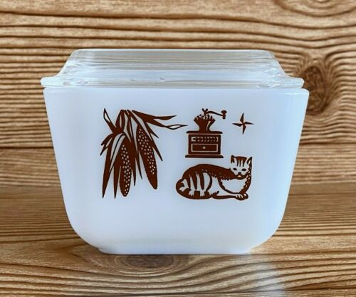 Vtg Pyrex Early American 501 Refrigerator Butter Dish Lid Cat Corn Coffee MCM