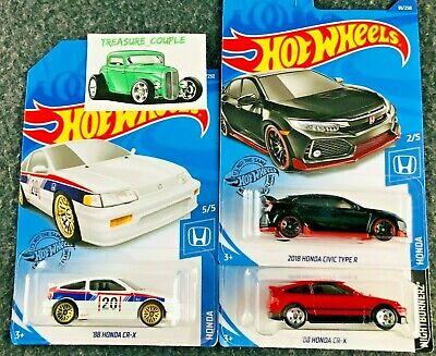 Hot Wheels - Lot of 3 - HONDA - NEW Release - CR-X - Civic Type R - C108