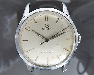 100% Authentic CYMA CYMAFLEX Hand Wind Mens Watch 17Jewels 1.5639.6 Cal.R459