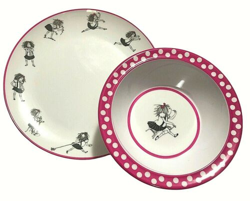 Eloise at the Plaza Plate Bowl Set Book Character Pink White Melamine Plastic