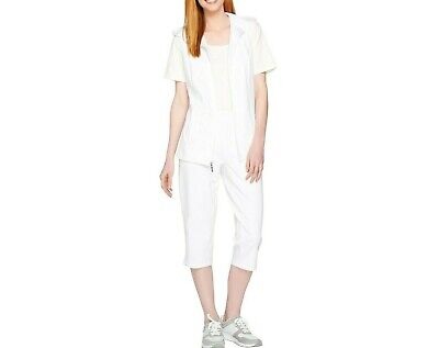 Denim & Co. Active French Terry Vest and Capri Pants Set White Small Size -