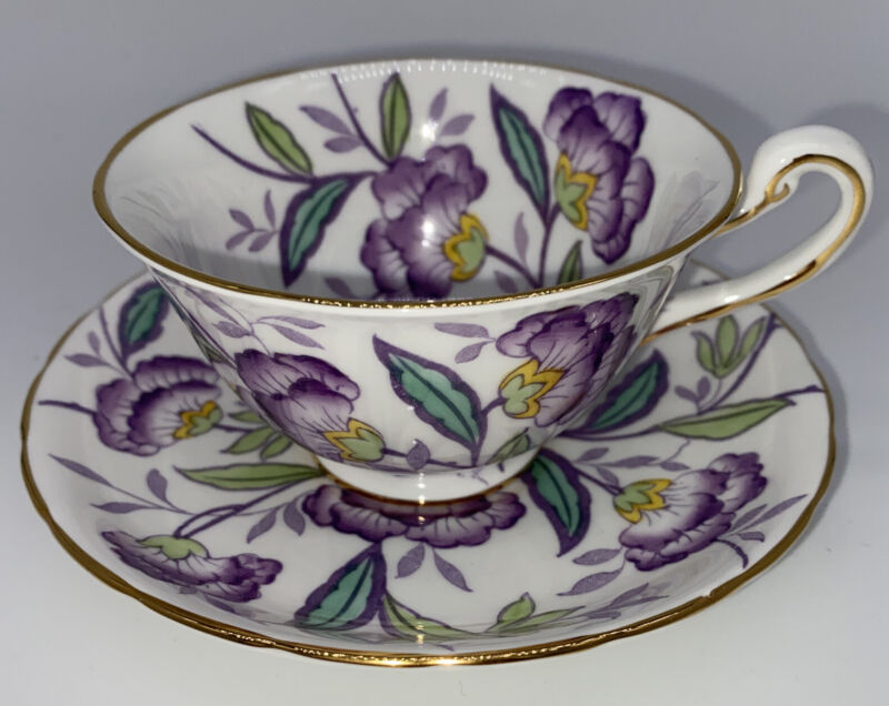 Royal Chelsea English Bone China Numbered Teacup and Saucer Set Purple Flower