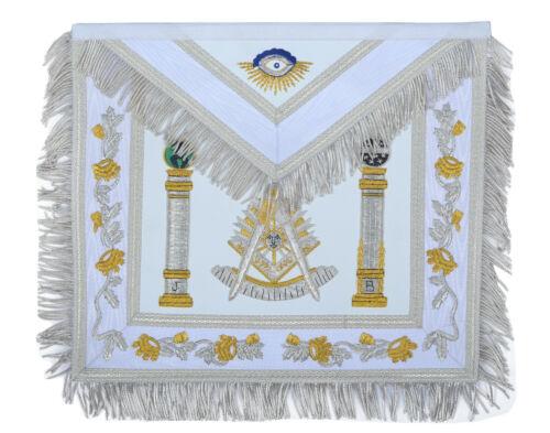 White Fringed Double Column Past Master Masonic Apron ( %100 LAMBSKIN )