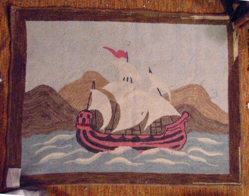 Antique Sailboat Boat Ship Hooked Hook Rug Nautical Viking Ship