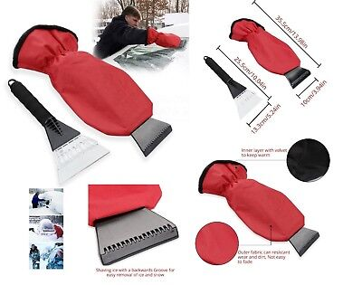 2pcs Car Van Window Ice Snow Frost De-Icer Removing Scraper with Insulated Glove