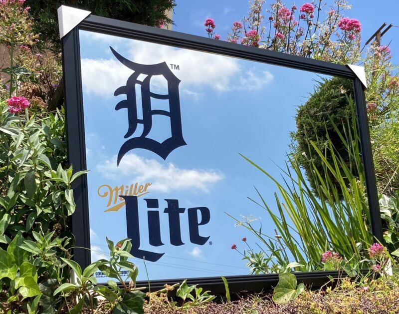 Miller Lite Detroit Tigers MLB Baseball Beer Bar Mirror Man Cave Pub New