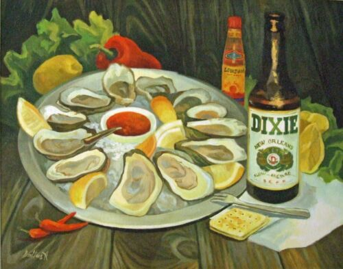Oysters and Dixie Beer New Orleans Matted Art Print Louisiana French Market