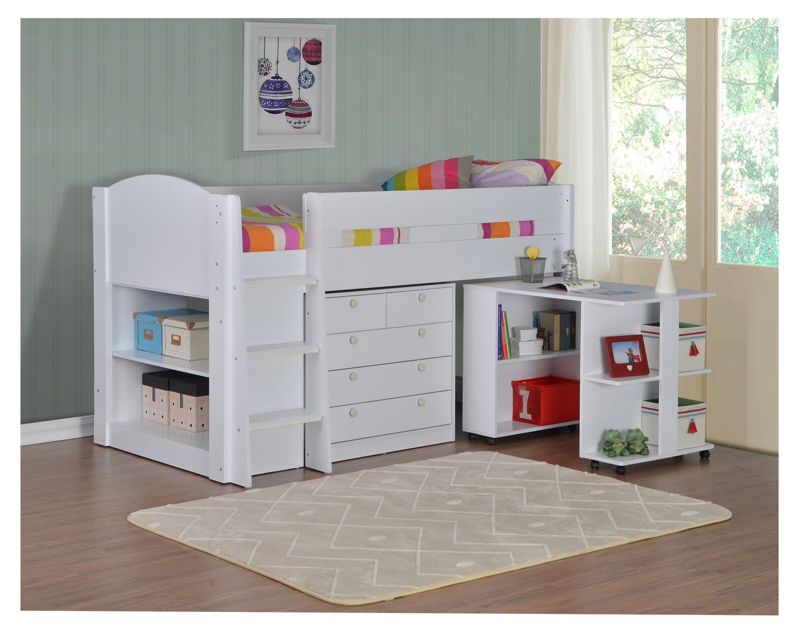 Frankie Childrens Mid Sleeper Cabin Bed Pull Desk Chest Shelves Various Colours Ebay