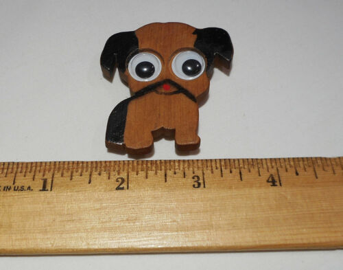 Vintage Wooden Puppy Dog Pin Brooch With Google Googly Eyes