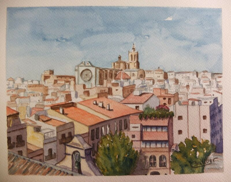 Original Watercolour of Tarragona (Barcelona) ,Spain 27 x 21 cm