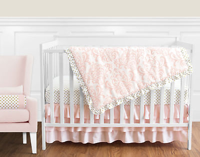 Bumperless Blush Pink & White Damask Gold Polka Dot Baby Girls Crib Bedding -