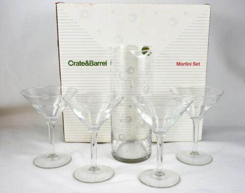 Vintage Crate & Barrel Martini Glass & Pitcher Cocktail Set With Etched Olives