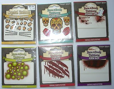6 Fright Night Face & Body Tattoo Sheets in 3 Sealed Packages of ZOMBIE BITE