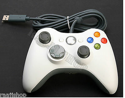 WHITE BRAND NEW USB WIRED CONTROLLER FOR MICROSOFT XBOX 360 PC WINDOWS...