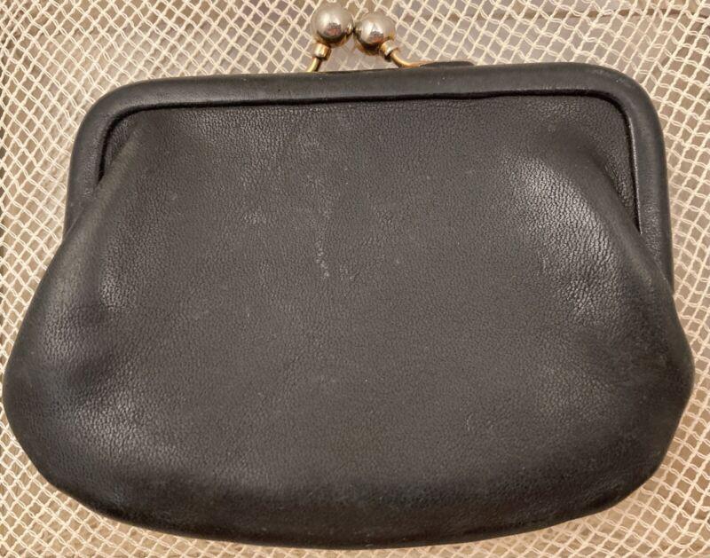 Vintage COACH Black Tan Kisslock Change/Coin Purse