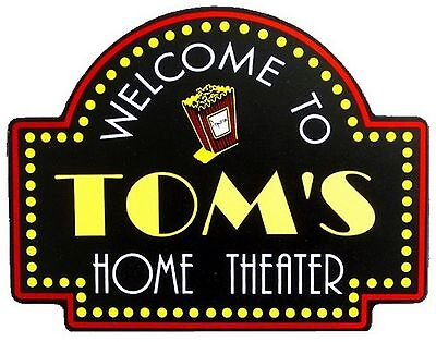 Home Theater Popcorn Custom Wooden Novelty Sign