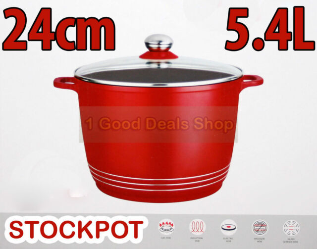 RED 5.4L 24cm INDUCTION STOCK POT COOKING STEW SOUP CASSEROLE PAN STOCKPOT HOB