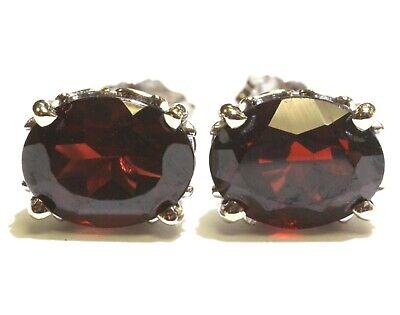 New 14k white gold oval garnet gemstone stud earrings 2.2g estate vintage