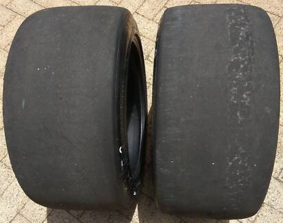 """Two Old 18"""" Racing Tyres Michelin 27/68 R 18"""