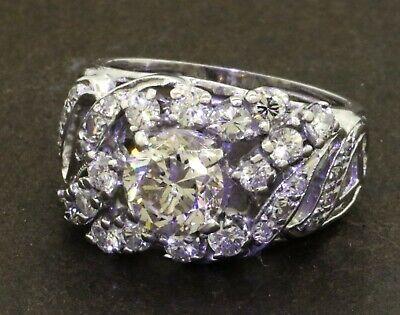 14k white gold 1.95ct VS diamond cluster cocktail ring w/ 1.04ct center stone Gemstone Cluster Cocktail Ring