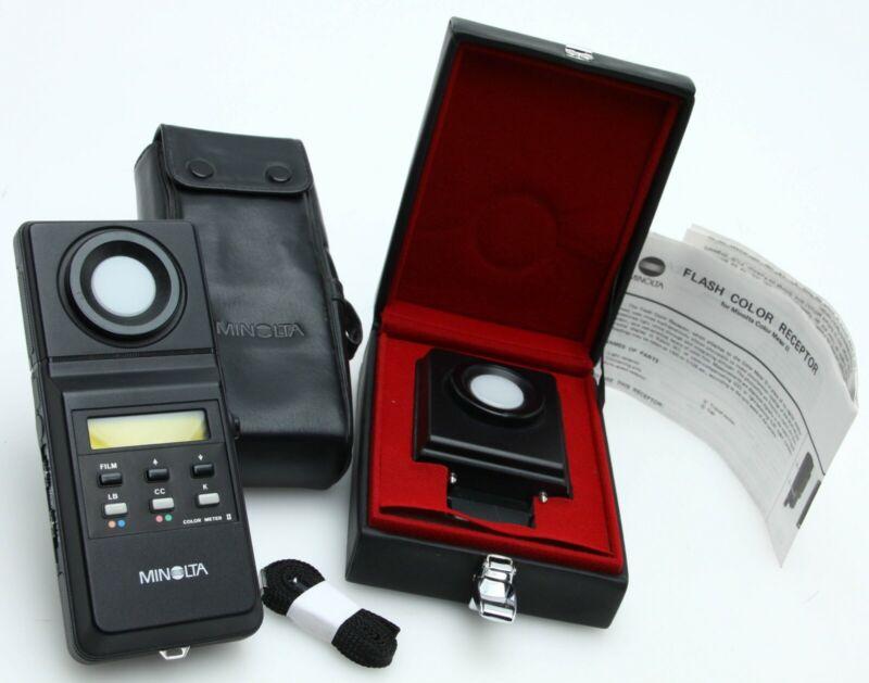 Minolta Color Meter II w/flash color receptor, color receptor & cases  392081