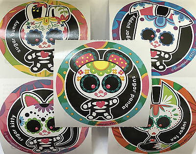 15 Day Of The Dead Sugar Skull Animals Día de Muertos Stickers Party Favors - Sugar Skull Party Supplies