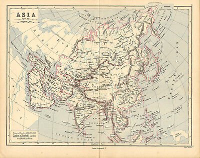 1886 map of asia . by rev george butler