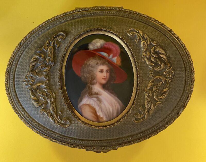 Antique Handpainted Signed Miniature Portrait Ormolu Jewelry Trinket Box French?