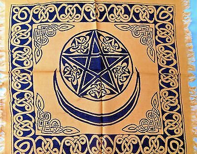 "Altar Cloth/Wiccan/Pagan/Tapestry/Scarve Gold Pentacle W/ Moon 18"" x 18"" SCV29GD"
