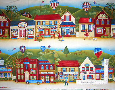 Patriotic Shops Stores Town Stripe Cotton Fabric HG&Co Land I Love By The (The Landing Stores)